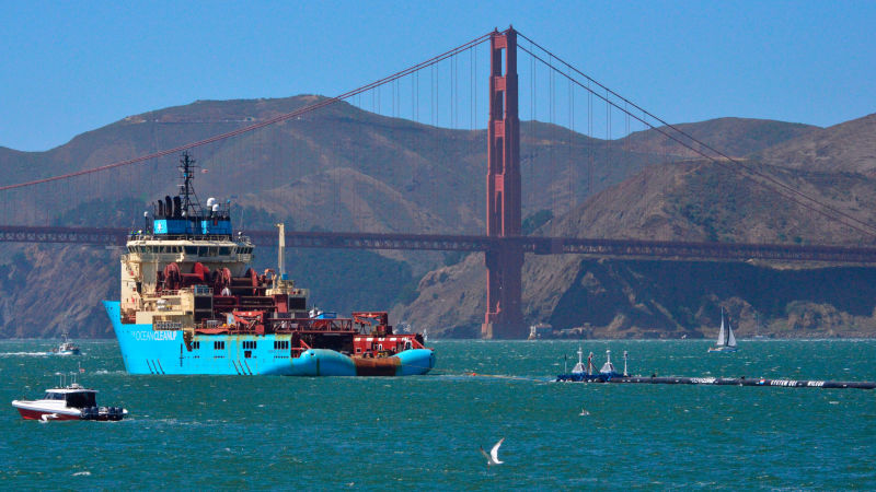 A gigantic floating boom out of San Francisco Bay will clean 'The Great Pacific Garbage Patch' Four times the size of California.